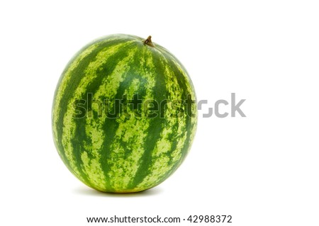 Fresh whole watermelon on white background with drop shadow