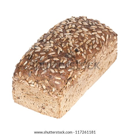 Fresh wholewheat bread with sunflower seeds on white background - stock photo