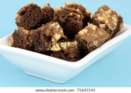 fresh wonderfully moist brownies with a deep fudgy chocolate flavor - stock photo