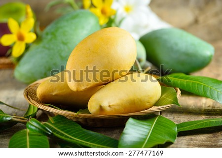 Fresh yellow and green mango on wooden  background
