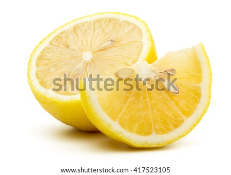 Fresh Yellow Lemon Isolated on White Background in Full Depth of Field with Clipping Path.