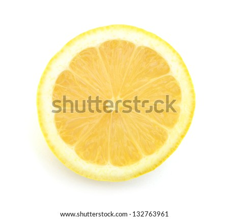 fresh yellow lemon isolated over white - stock photo