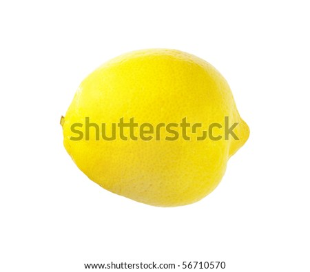 fresh yellow lemon isolated over white with clipping path - stock photo