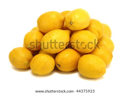 fresh yellow lemons isolated at white background
