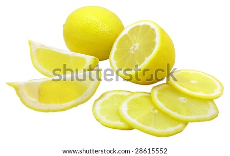 fresh yellow lemons isolated over white with clipping path