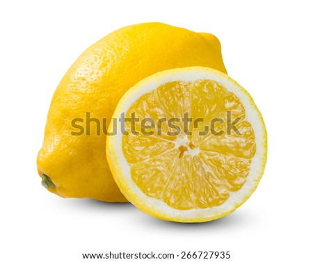 Fresh Yellow Lime, Lemons sliced rich witch vitamin C isolated on white bacground. - stock photo