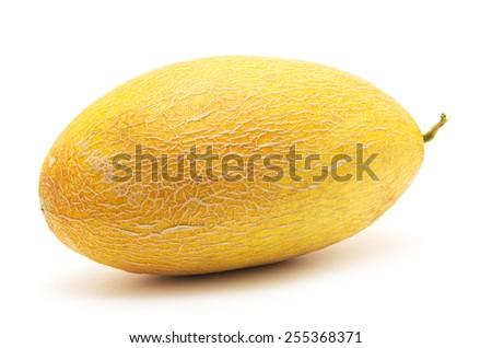 Fresh yellow melon isolated on white background - stock photo