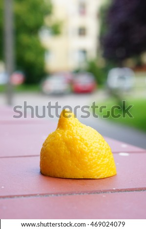 Fresh yellow ripe half cut lemon