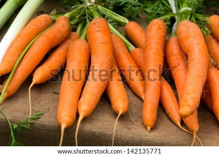 Fresh young carrots at local farmer market. - stock photo