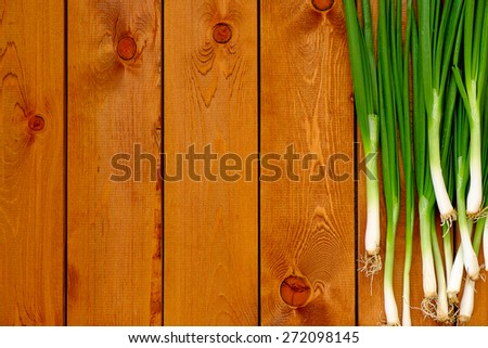 Fresh young green onions on a wooden table - stock photo
