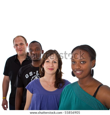 Fresh young group ofmultiracial people isolated over white. - stock photo