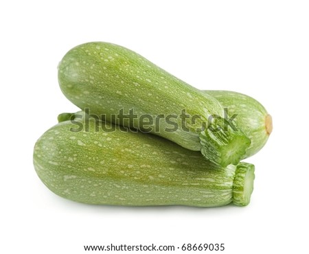 Fresh zucchini isolated on white. - stock photo