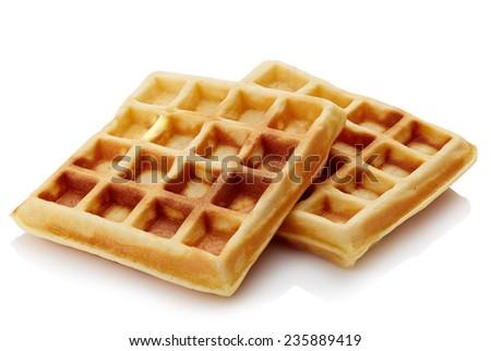 Freshly baked belgian waffles isolated on white background - stock photo
