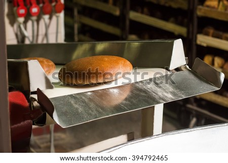 Freshly baked bread. Conveyor line with the bread. Plant of the production bread. Hot bread on the conveyor. Automated production of black bread. Delicious bread. - stock photo