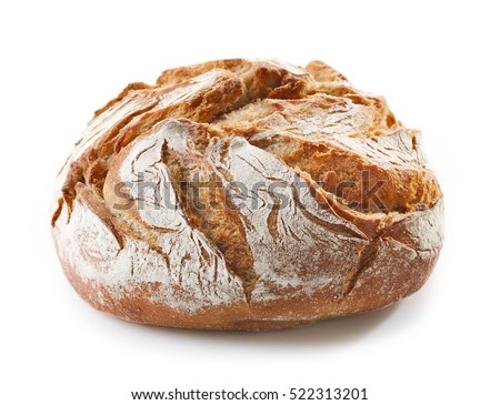 freshly baked bread isolated on white background