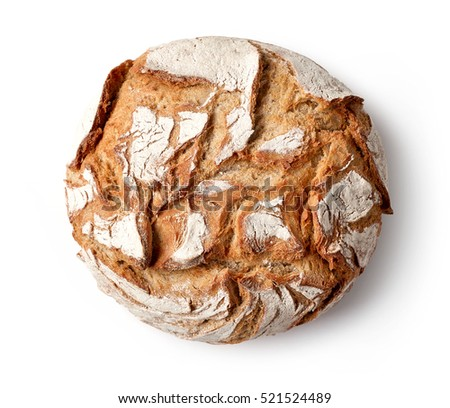 freshly baked bread isolated on white background, top view