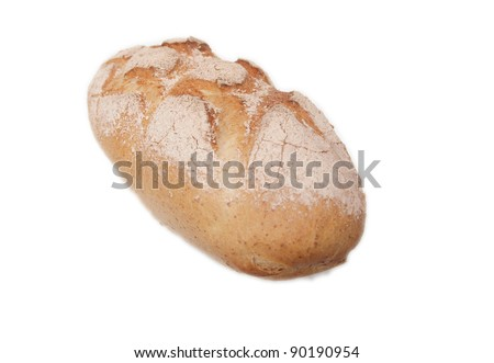 Freshly baked bread loaf isolated on white - stock photo