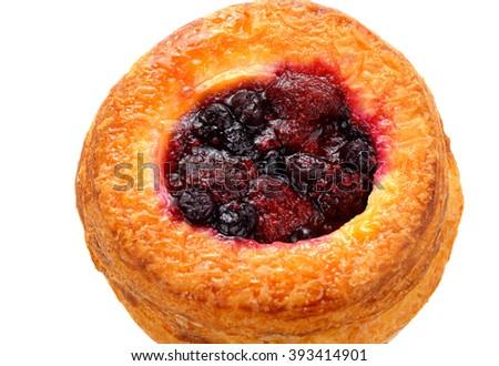 freshly baked cherry danish on a white background - stock photo