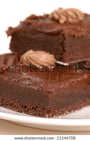 Freshly baked chocolate fudge brownies with chocolate ganache