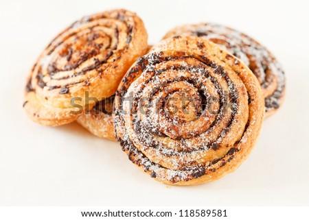 freshly baked cinnamon rolls - stock photo
