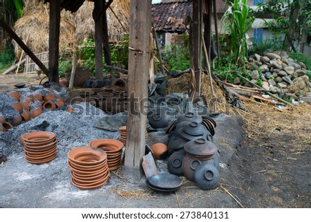 Freshly Baked Clay / Finished Pottery / Brown Pottery / Souvenirs  - stock photo