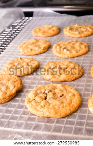 Freshly baked cookies resting on a baking rack. - stock photo