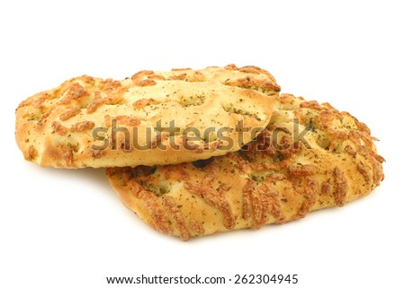 freshly baked focaccia bread on a white background - stock photo