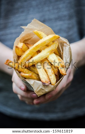 Freshly baked fries with mayonaise - stock photo