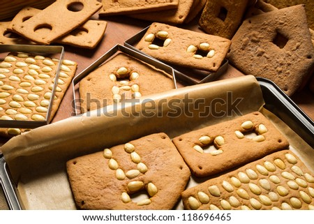 Freshly baked gingerbread cottage components