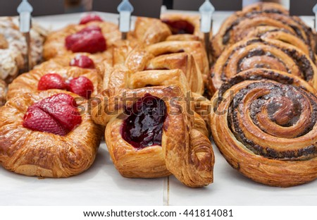 Freshly baked goods in organic bakery closeup - stock photo