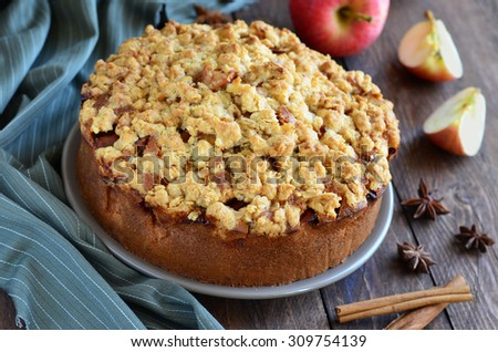 Freshly Baked Homemade Apple Pie with Oat Streusel, selective focus, horizontal - stock photo