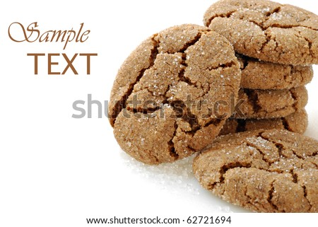 Freshly baked homemade ginger cookies on white background with copy space.  Macro with shallow dof. - stock photo