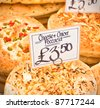 Freshly baked italian foccacia at a market stall in the UK - stock photo