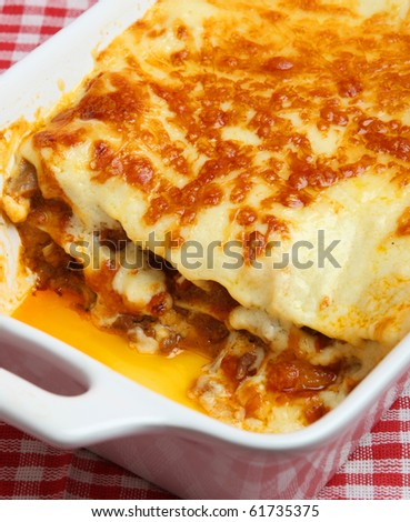 Freshly baked lasagna - stock photo