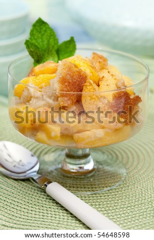 Freshly Baked Peach Cobbler - stock photo