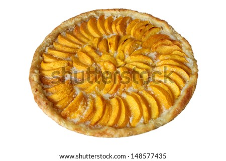 Freshly baked peach pie almond