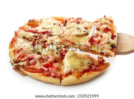 freshly baked pizza isolated on a white background - stock photo