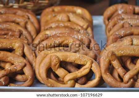 Freshly baked pretzels for sale at a farmers market in Raleigh, North Carolina