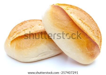 Freshly baked rolls. All on white background. - stock photo