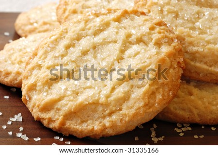 Freshly baked sugar cookies.  Macro with shallow dof. - stock photo