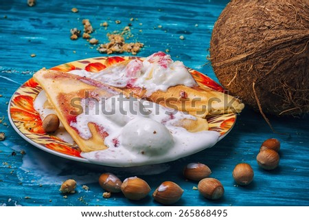 freshly baked waffle pecan coconut dessert with appendices ice cream .Shallow DOF - stock photo