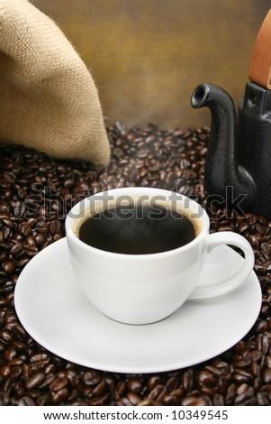 Freshly brewed coffee close-up - stock photo