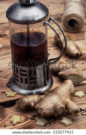 freshly brewed tea with ginger root