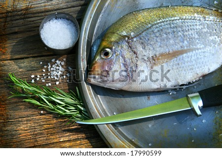Freshly caught fish on cooking platter with sea salt and herbs - stock photo