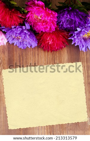 Freshly cut asters on wooden background. Space for your text - stock photo