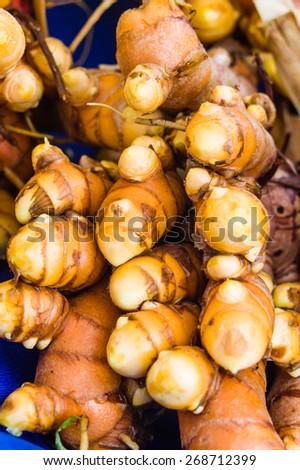 Freshly dug tumeric root at the market - stock photo