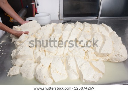 Freshly fermented cheese being moved on during production process - stock photo
