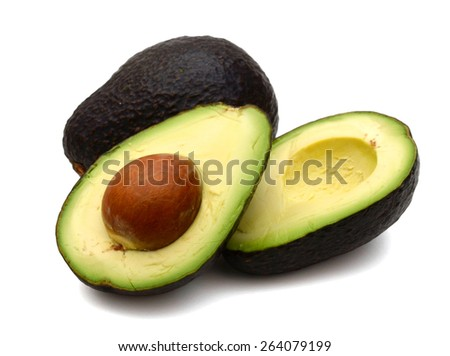 freshly green avocados on white background