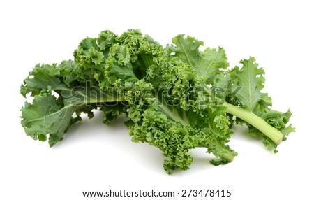 freshly green kale leaves on white background  - stock photo
