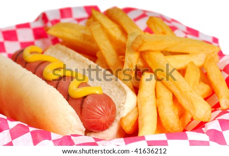Freshly grilled hot dog with mustard and french fries. - stock photo